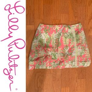 Lilly Pulitzer Animal Print Skirt Skort pink green
